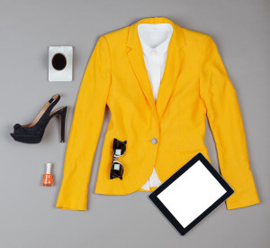 Outfit of essentials business woman on grey background.